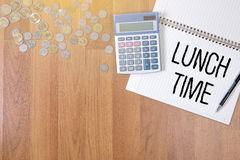 LUNCH TIME time for lunch words ,BUSINESSMAN WORKING AND LUNCH T Stock Photo