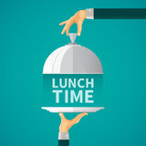 Lunch time vector concept with cloche lid cover in flat style Stock Photography