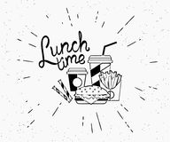 Lunch time vintage label of burger with coffee and french fries in hipster style. With sunburst. Hand drawn retro lettering on white background for restaurants Stock Photo