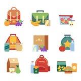 Lunch torba z zdrowym jedzeniem dla dzieciaków i pudełko Wektorowe ilustracje w mieszkanie stylu royalty ilustracja