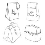 Lunch torby kolekcja Łatwi lunchu pudełka pojęcia Różnorodne jedzenie torby i jedzeń pudełka Zdjęcie Stock