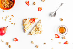 Lunch with triangle sandwiches on white table background top view Royalty Free Stock Photos