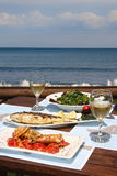 Lunch for two by the sea. Healthy seafood  for two by the sea Stock Image