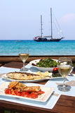 Lunch for two by the sea Stock Image