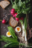 Lunch with vegetables and bread Royalty Free Stock Photo