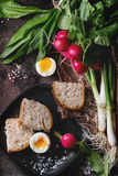 Lunch with vegetables and bread Stock Photography