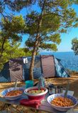 lunch with a view in a camp on island Hvar, Croatia. royalty free stock image