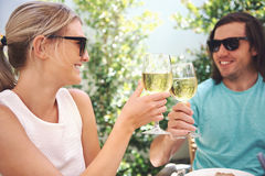 Lunch wine in cafe Stock Image