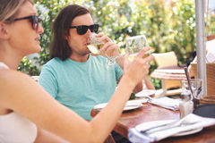 Lunch wine in cafe Royalty Free Stock Photos
