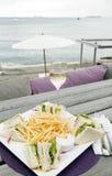 Lunch with wine harbor St. Eustatius Oranjestad Royalty Free Stock Photo