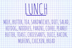 Lunch word cloud Royalty Free Stock Images