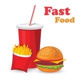 Lunch z francuskimi dłoniakami, hot dog i sodowanym takeaway na odosobnionym tle, Fast food Płaski projekt wektor Obrazy Royalty Free
