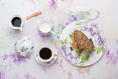 Lunch z kanapką i kawą Zdjęcia Royalty Free