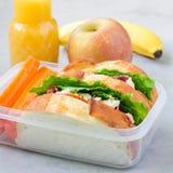 Lunchask med smörgåsar för feg sallad som tjänas som med morotpinnar Frukter och fruktsaft på bakgrunden, fyrkantigt format royaltyfri bild