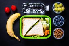 Lunchask med smörgåsen, grönsaker, bananen, vatten, muttrar och ber royaltyfri bild