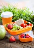 Lunchask med smörgåsen, kakor, veggies och frukter royaltyfri fotografi