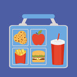 Lunchbox with apple. Coockies, potatoes fries, beverage and burger vector Stock Photo
