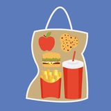Lunchbox with apple. Coockies, potatoes fries in a red carton box, beverage and burger  package Stock Images