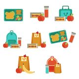 Vector lunchbox with snacks, vegetables set. Lunchbox with cheese sandwich, tomato slices, potato chips, paper bag, schoolbag for school or work set. Dinner Stock Images
