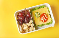 Lunchbox with dinner on  background Stock Photo