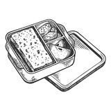 Lunchbox with food engraving vector illustration. Scratch board style imitation. Black and white hand drawn image Stock Images