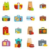Lunchbox food icons set vector isolated. Lunchbox food icons set. Flat illustration of 16 lunchbox food vector icons isolated on white Royalty Free Stock Photo