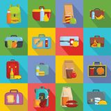 Lunchbox food icons set, flat style. Lunchbox food icons set. Flat illustration of 16 lunchbox food vector icons for web Stock Photos