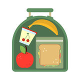 Lunchbox with food. Meal, apple and sandwich. Healthy cartoon vector illustration. School lunch apple with banana, food lunch box Royalty Free Stock Photo