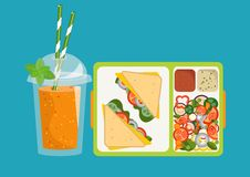 Lunchbox with healthy food. The concept of a healthy lifestyle,. The concept of a healthy lifestyle, losing weight, lose weight. Vector. Lunchbox with healthy Royalty Free Stock Image