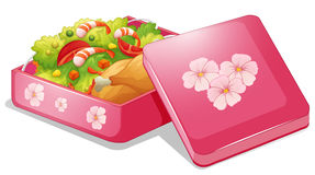 Lunchbox. Illustration of a pink lunchbox with chicken and salad Stock Image