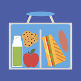 Lunchbox with lunch. Apple cookies juice and sandwich sausage - vector Stock Photos