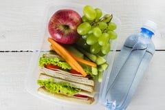 Lunchbox med smörgåsen, grönsaker och frukt, flaska av vatten på en vit bakgrund Arkivbild
