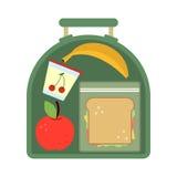 Lunchbox met voedsel Maaltijd, appel en sandwich Gezonde beeldverhaal vectorillustratie stock illustratie