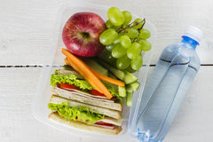 Lunchbox with sandwich, vegetables and fruit, bottle of water on a white background. Lunchbox with sandwich, vegetables and fruit, bottle of water on a white stock photography
