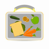 Lunchbox with school lunch. Sandwich, carrots, apple, cucumber cookies Vector illustration Royalty Free Stock Image
