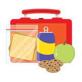Lunchbox with school lunch. Lunch vector illustration. Lunch break concept. Lunch time design. Lunch box, sandwich, soda and an apple. Lunch icon in flat style Royalty Free Stock Image