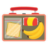 Lunchbox with school lunch. Lunch vector illustration. Lunch break concept. Lunch time design. Lunch box, sandwich, soda and an banana. Lunch icon in flat style Royalty Free Stock Photos