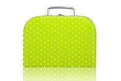 Lunchbox verde del puntino di Polka dell'annata fotografie stock
