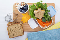 Lunchdoos met sandwich en salade Royalty-vrije Stock Foto