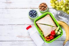 Lunchdoos met sandwich, groenten, yoghurt, noten en bessen stock foto