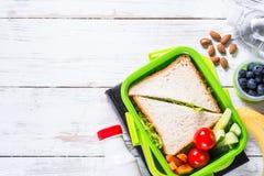 Lunchdoos met sandwich, groenten, yoghurt, noten en bessen royalty-vrije stock foto