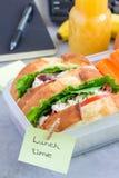 Lunchdoos met sandwiches van de kippensalade en de verticale wortelstokken, Royalty-vrije Stock Afbeeldingen