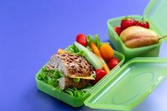 Lunchdozen met vers gezond tweede ontbijt royalty-vrije stock afbeeldingen