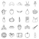 Luncheon icons set, outline style. Luncheon icons set. Outline set of 25 luncheon vector icons for web isolated on white background Royalty Free Stock Image