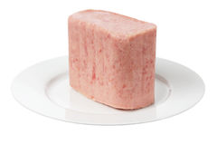 Luncheon Meat on Plate Stock Photo