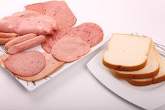 Luncheon meat with Toast. Variety of luncheon meat on dish with  Toast on white plate on white background Stock Images