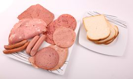 Luncheon meat with toast. Luncheon meat on white dish with toast on another dish over white background Royalty Free Stock Images