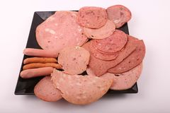 Luncheon meat top view. Variety of luncheon meat on dish with white background Royalty Free Stock Photography