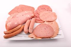 Luncheon meat. Variety of luncheon meat on dish on white plate on white background Royalty Free Stock Photo