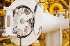 Luncher do porco na indústria de petróleo e gás, linha de limpeza equipamento da tubulação na indústria de petróleo e gás Imagens de Stock